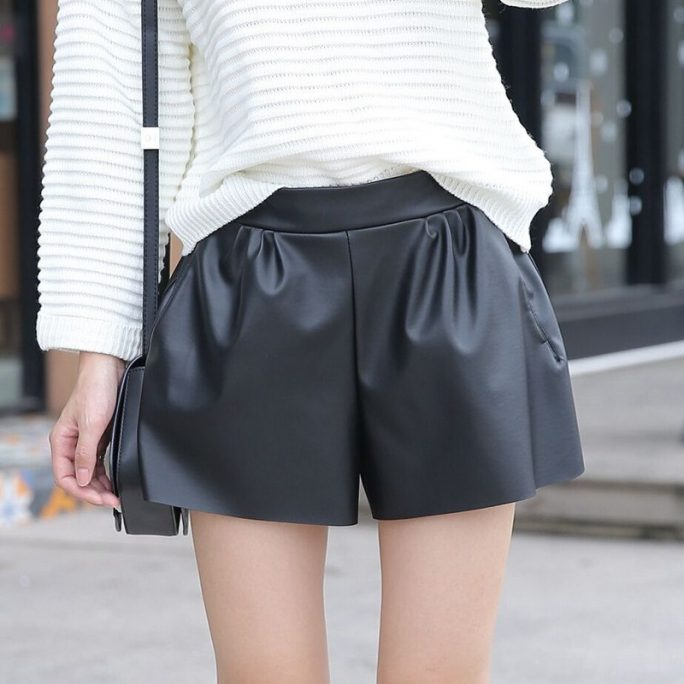 Leather Women Shorts 1