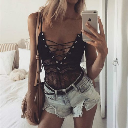 Sexy Thin Lace Strap Suit