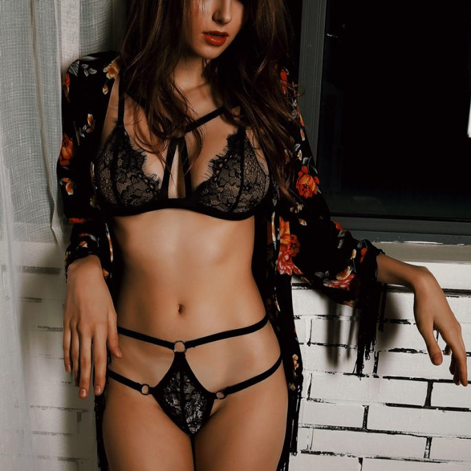 Hot Lace Strapped Lingerie Set